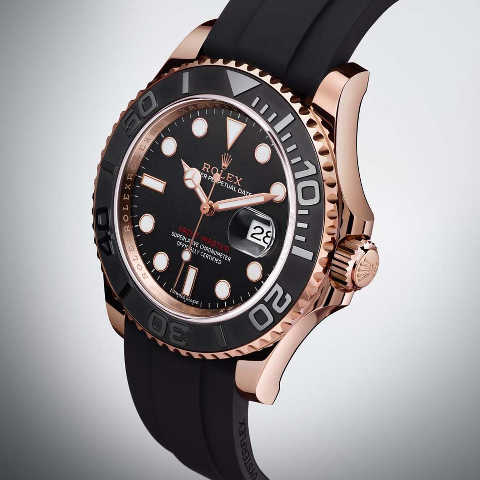 Rolex's new Yacht-Master in a 40mm Everose gold case boasts a new Cerachrom insert in black ceramic fitted in the rotating bezel on the dial. The raised and polished numerals stand out clearly against the matte black ceramic and are designed to measure el