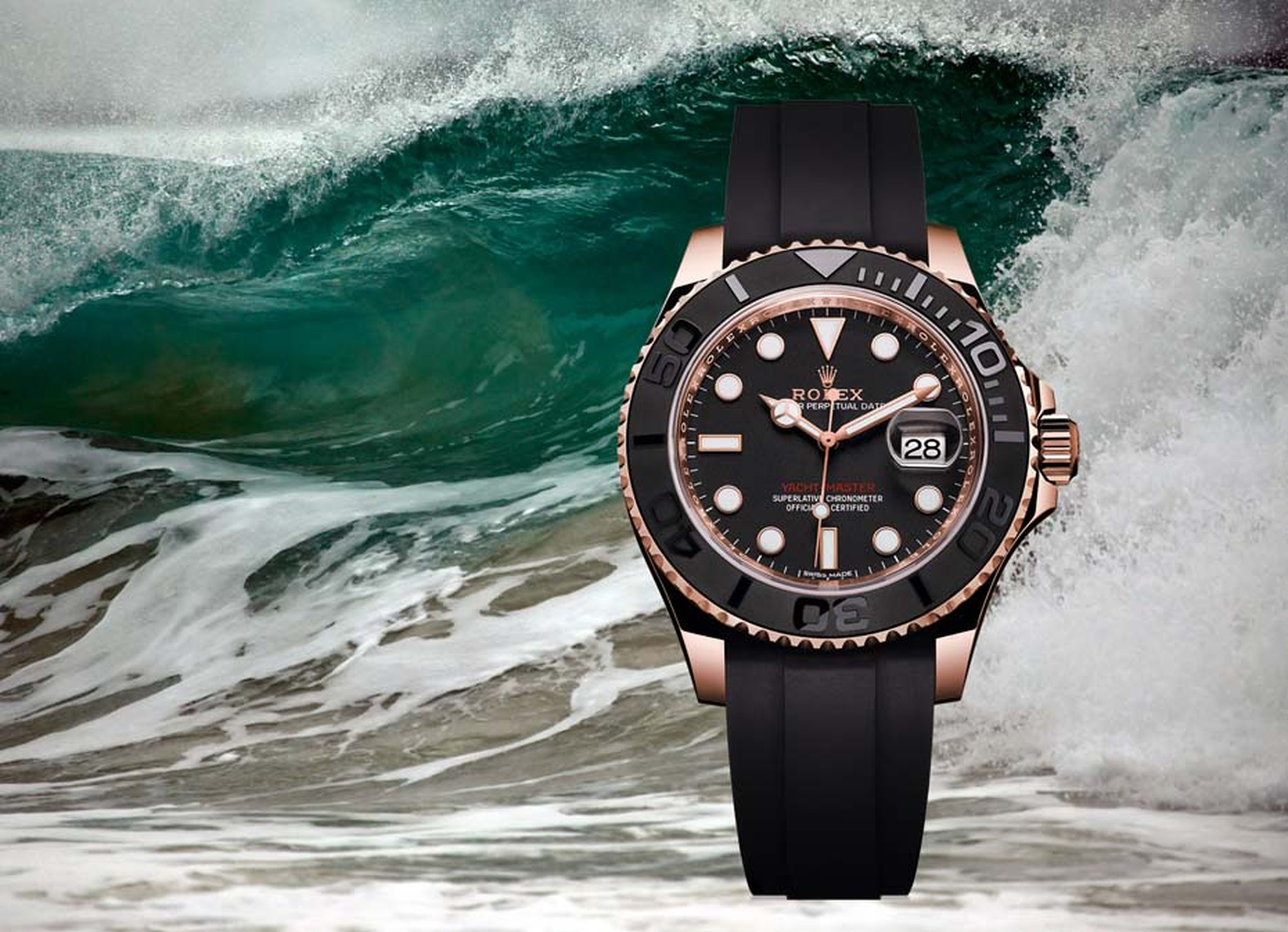 Rolex watches' new Yacht-Master, presented at Baselworld 2015 in an Everose gold case. This is the first time the Yacht-Master has been dressed in black, with the black matte dial, black ceramic bezel and new black Oysterflex bracelet giving this 40mm wat