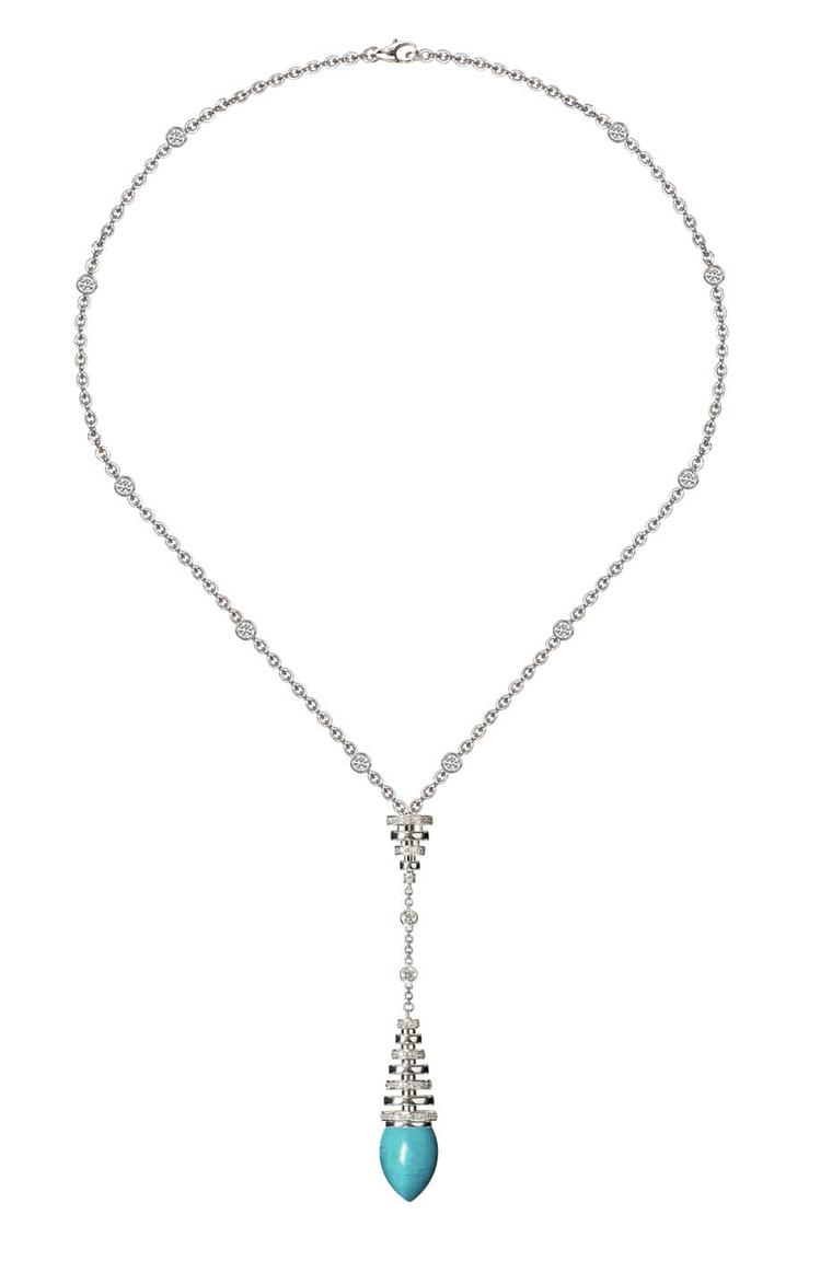 Avakian turquoise necklace in white gold with diamonds, from the Riviera collection.