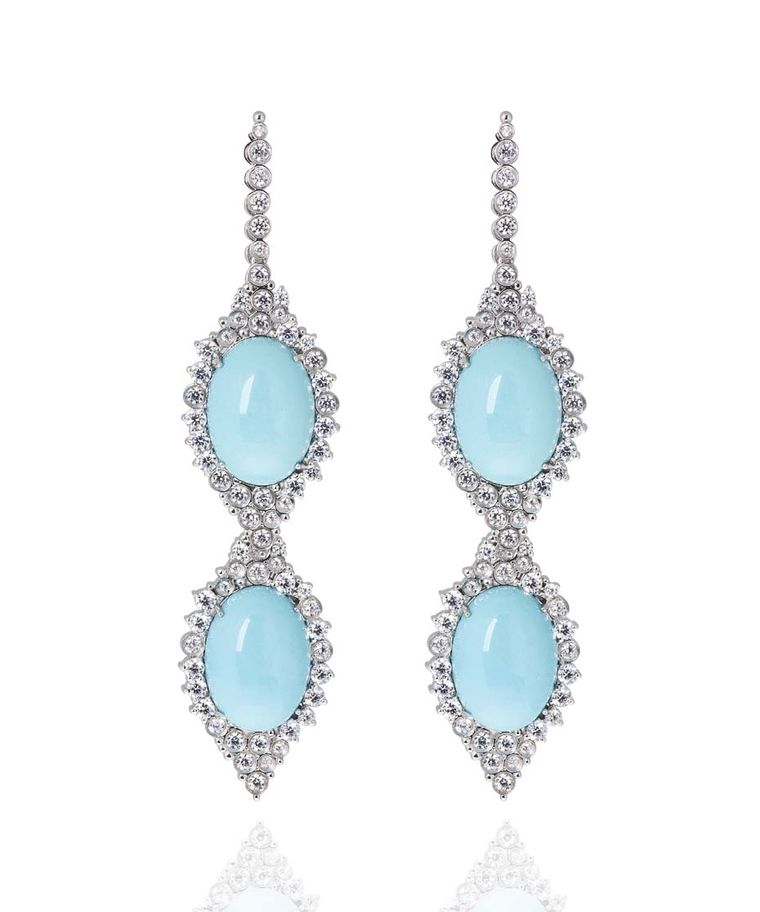 Carla Amorim earrings set with rare Sleeping Beauty turquoise in white gold, accentuated by brilliant-cut diamonds.