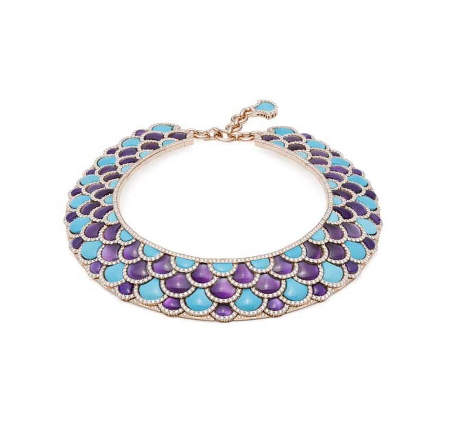 Giampiero Bodino Mosaico necklace with turquoise, amethysts and brilliant-cut diamonds.