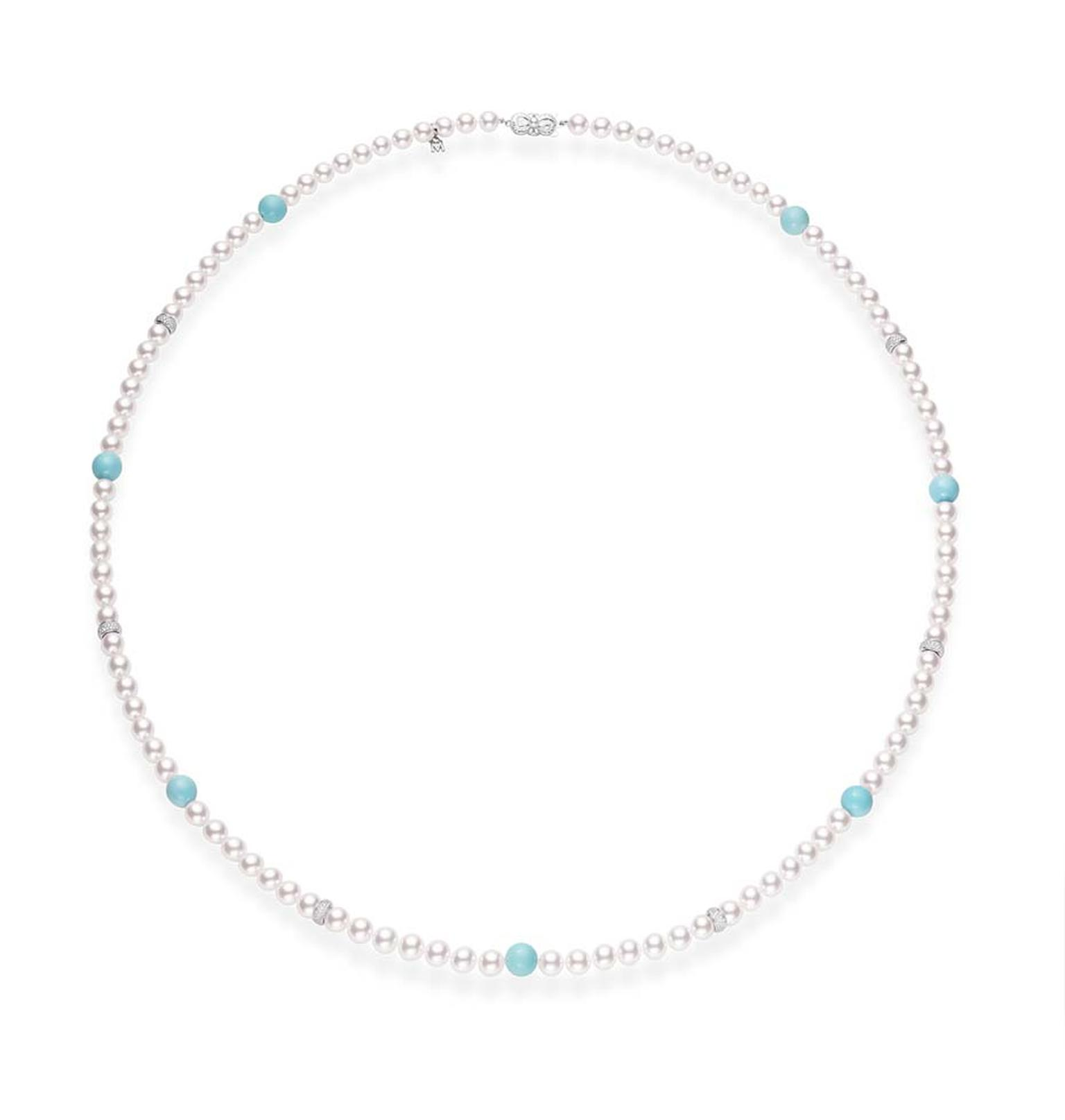 Mikimoto single strand Ayoya cultured pearl necklace with turquoise beads.