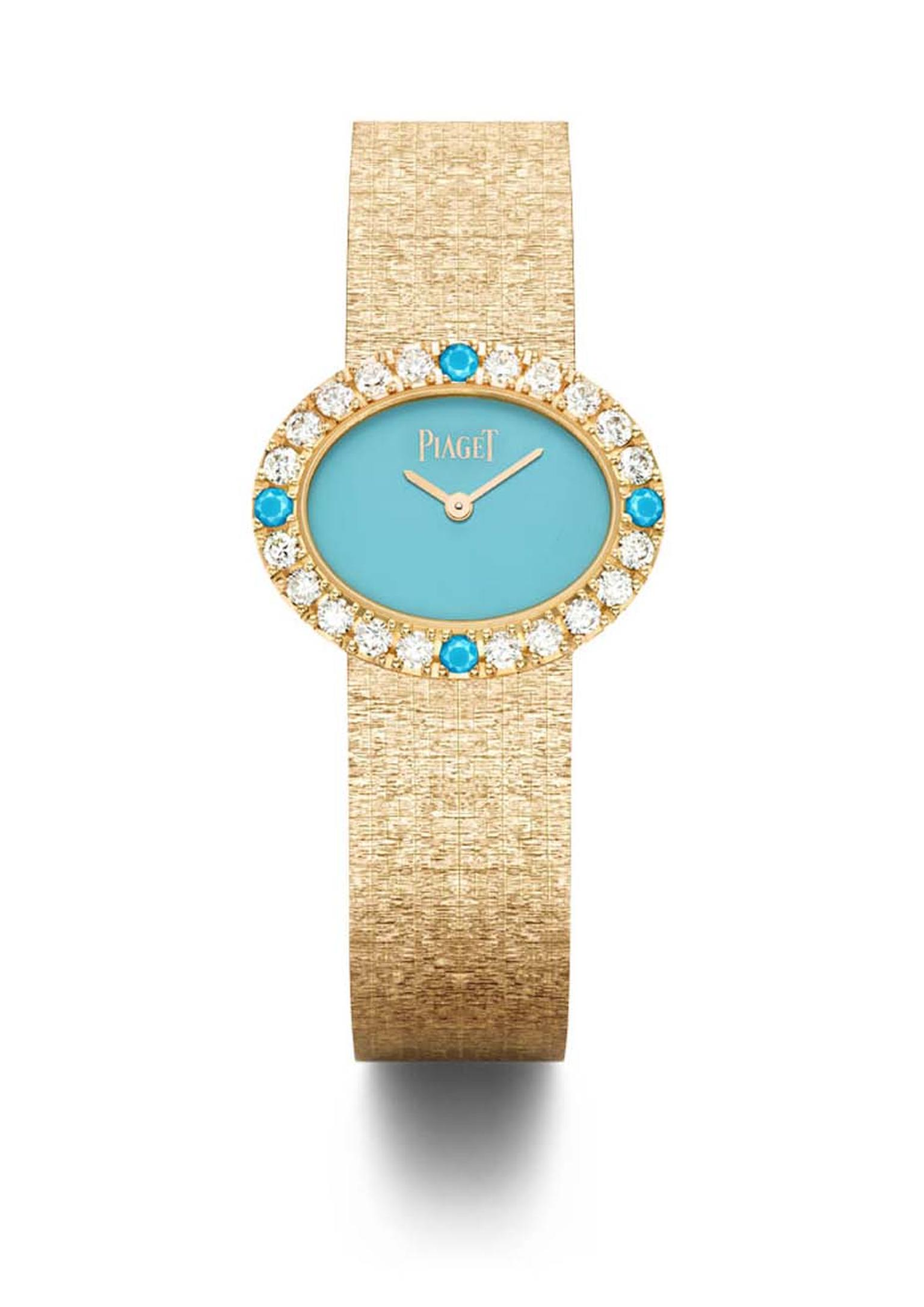 Piaget traditional 18ct pink gold oval watch, featuring a turquoise dial, set with 20 brilliant-cut diamonds and 4 turquoise cabochons.