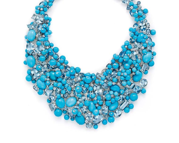 The aquamarine, diamond and turquoise necklace worn by Cate Blanchett to the Oscars earlier this year, from the 2015 Tiffany & Co. Blue Book collection.
