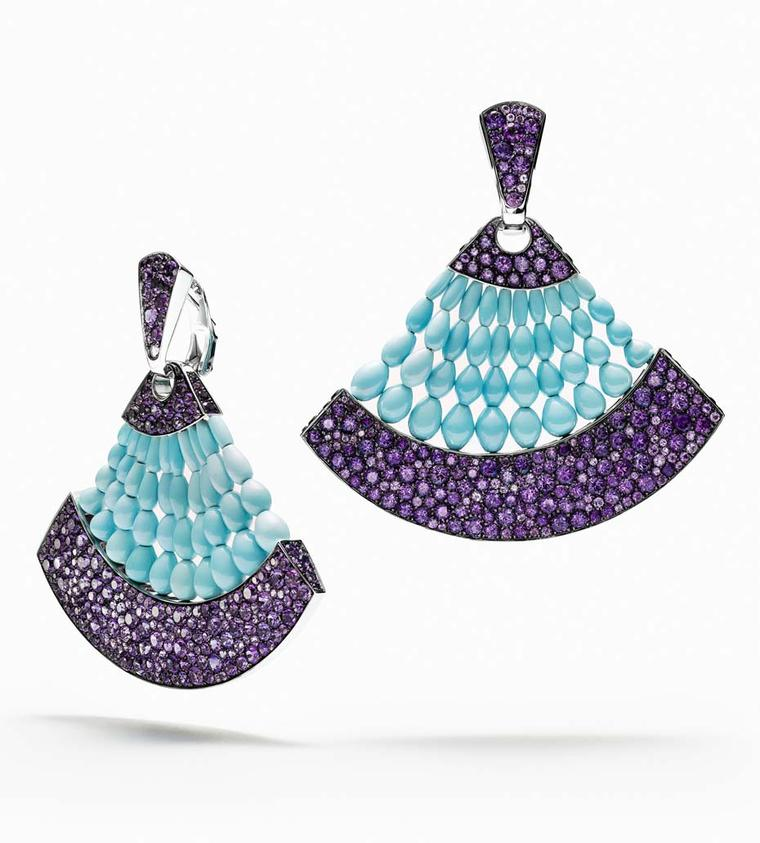 de GRISOGONO Melody of Colours earrings in white gold, with turquoise and amethysts.
