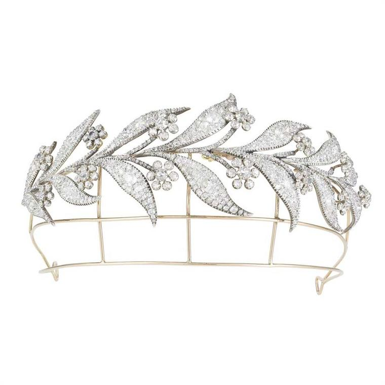 The so-called Downton Abbey tiara dates back to the 1800s and is pavé set with 45ct of old-cut diamonds. Currently for sale at Bentley & Skinner, it was originally given to Princess Louise on her wedding day in 1889 and, more recently, was worn by Lady Ma