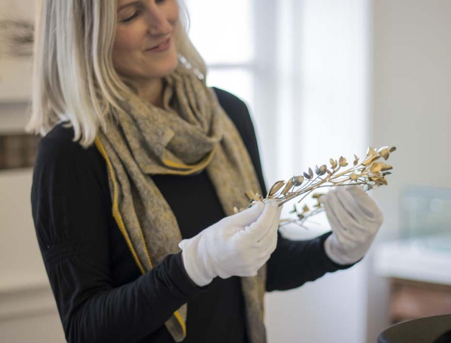 Incorporating local flora and fauna, Cornwall-based jewellery designer Mirri Damer created the crown for comedian Dawn French to wear on her inauguration as chancellor of Falmouth University.