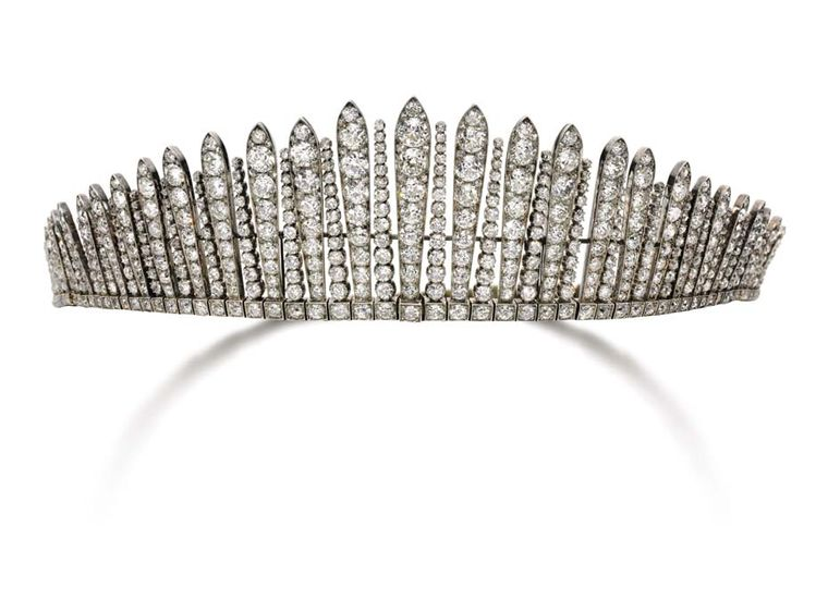 "Dating back to the 1880s, this ""tiara russe"" diamond tiara, with a design based on the head ornaments worn by the Russian kokoshniks, will be auctioned at Sotheby's Geneva this May (estimate: $150-295,000)."