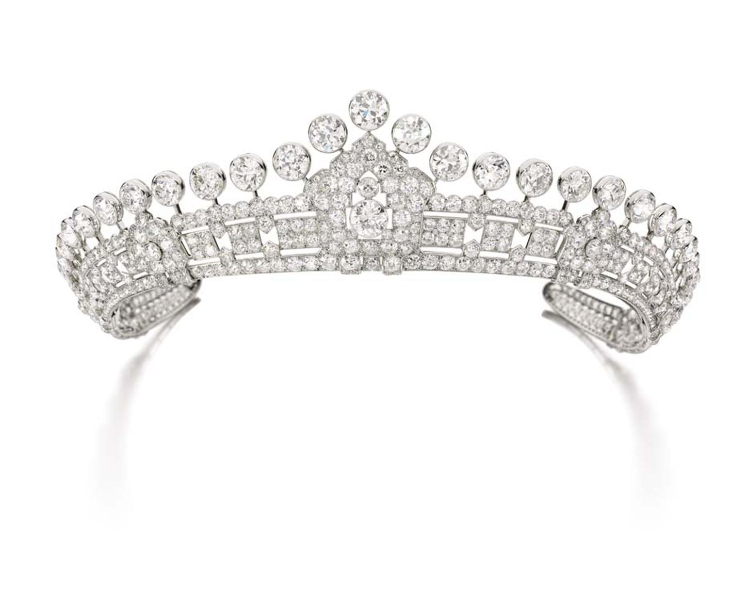 A 1930s' Cartier diamond tiara is one of three vintage-style tiaras from the estate of Mary, Duchess of Roxburghe, set to go under the hammer at next month's Magnificent Jewels and Noble Jewels Sale at Sotheby's Geneva.