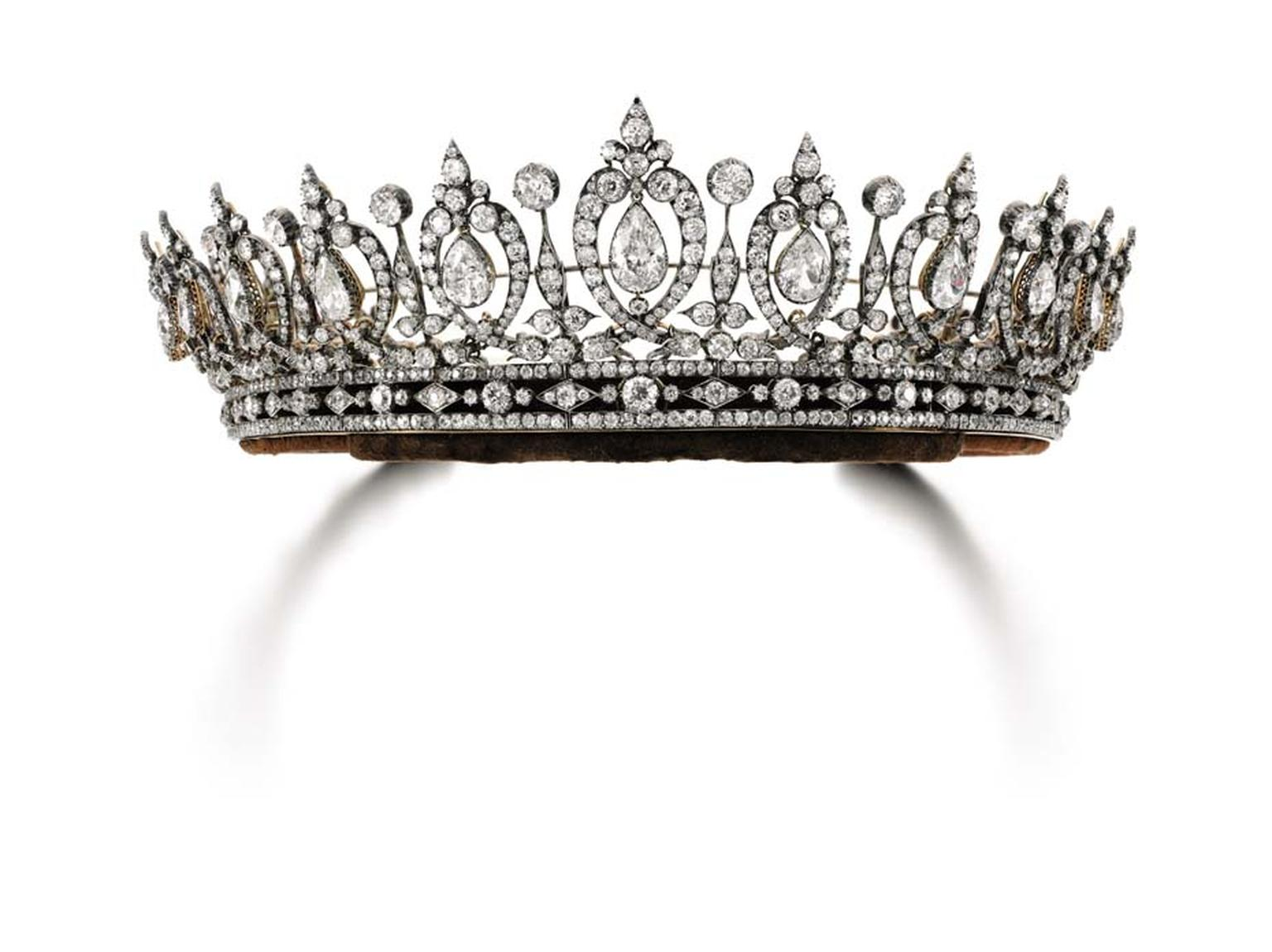 This intricate diamond tiara from the estate of the Duchess of Roxburghe, which will be auctioned by Sotheby's Geneva on 12 May, dates back to the last quarter of the 19th century and can also be worn as a necklace (estimate: $306-510,000).