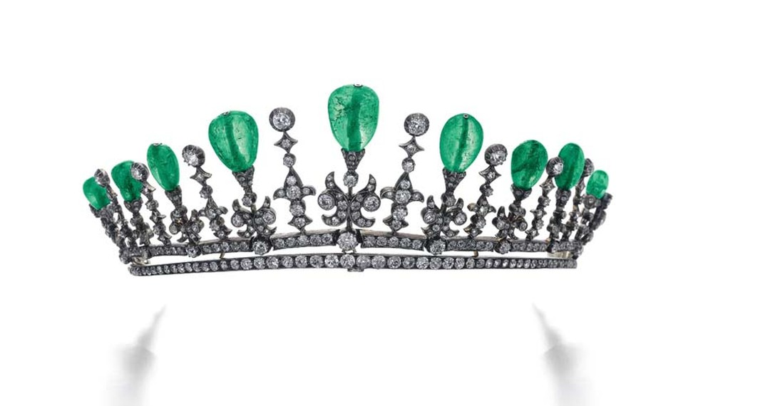 From the early 20th century, this elegant emerald and diamond tiara is one of five vintage tiaras that will go under the hammer at Sotheby's Geneva next month as part of its Magnificent Jewels and Noble Jewels auction (estimate: $40-60,000).
