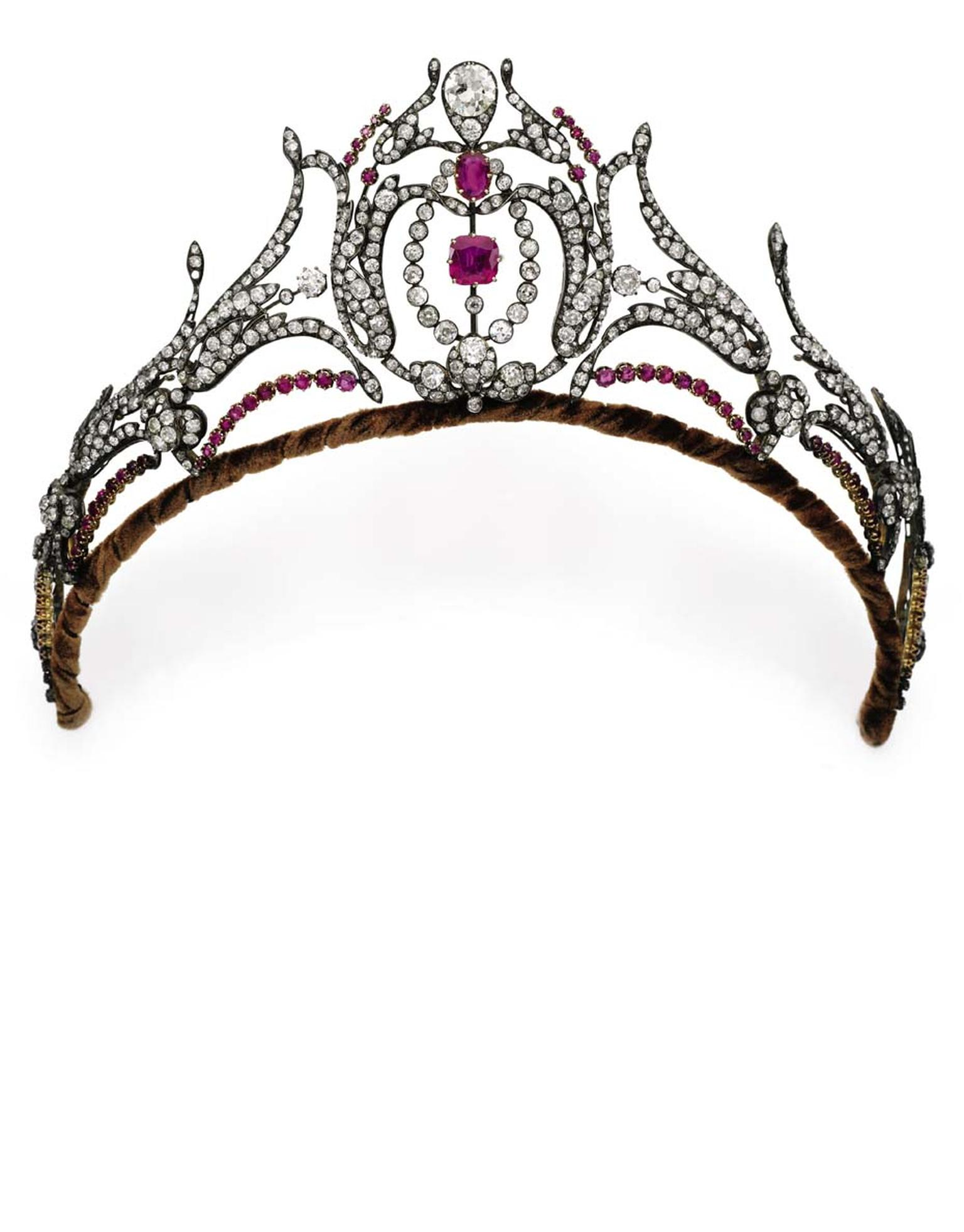 Dating from the second half of the 19th century, this diamond and ruby tiara, which belonged to the late Duchess of Roxburghe, is one of five antique tiaras that will be auctioned by Sotheby's Geneva in May (estimate: $81-102,000).