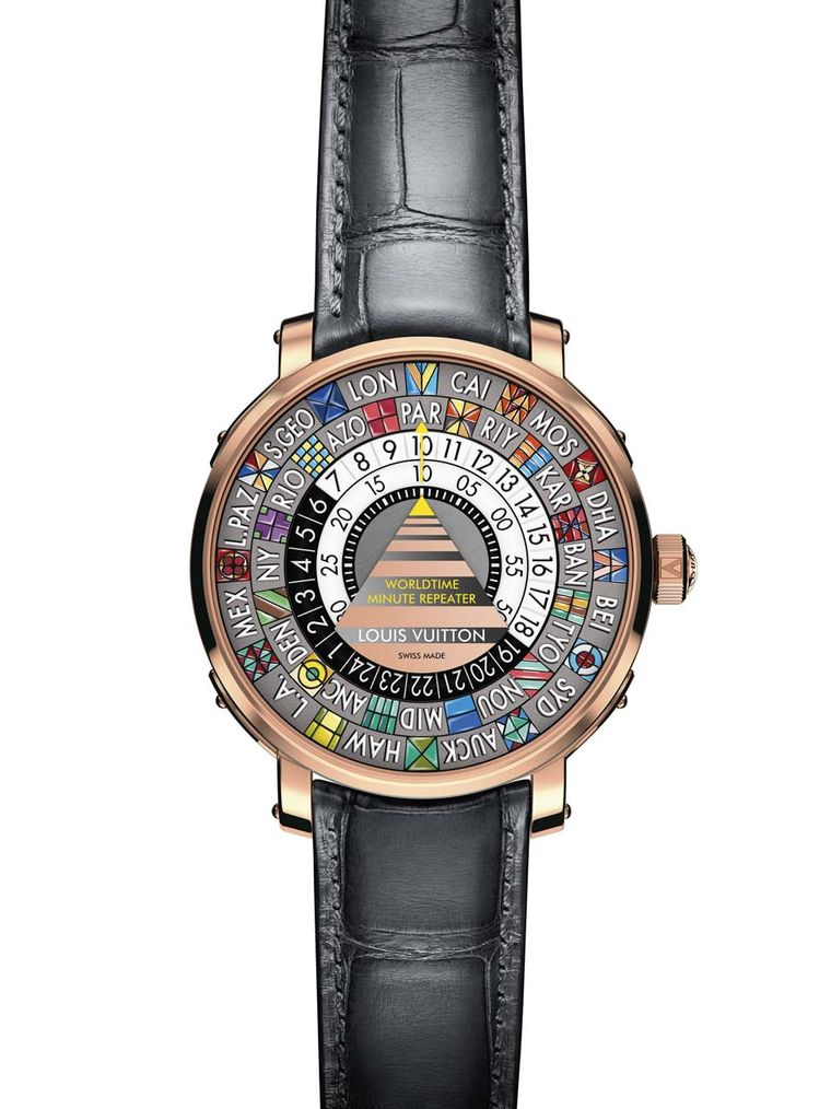 The colourful dial of the Louis Vuitton Worldtime Minute Repeater features miniature, geometric oil paintings to highlight the different cities chosen to represent world time. The only static element on the dial is the central triangle, whose yellow hand