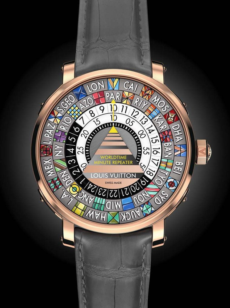 The new Louis Vuitton Worldtime Minute Repeater comes in a 44mm rose gold case with a colourful dial representing 24 world time zones and an original way to read the time via rotating discs in the centre. The black and white disc corresponds to the hours
