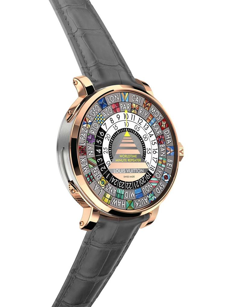 The Louis Vuitton Worldtime Minute Repeater features a titanium middle case to enhance the sound of the chiming minute repeater. Unlike traditional minute repeaters, which sound the time displayed by the hands on the dial, the complexity of the movement a