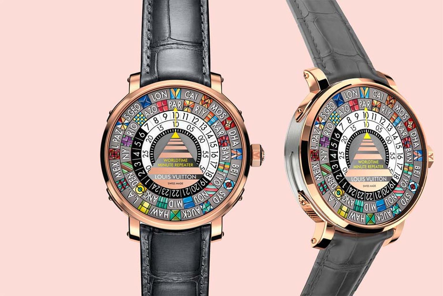 Louis Vuitton's new Escale Worldtime Minute Repeater chimes the home time on demand and gives you local time without the aid of hands. A remarkable watch, both mechanically and aesthetically, made by Louis Vuitton's Swiss watchmaking manufacture La Fabriq