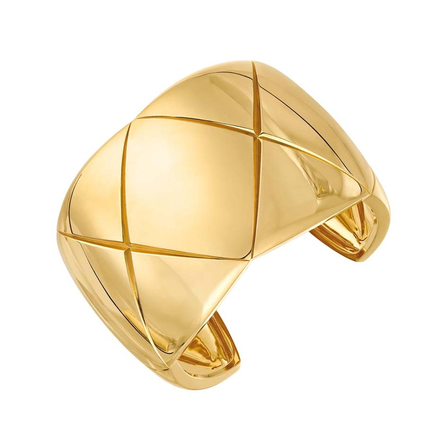 Bold yellow gold cuff from Chanel's new Coco Crush collection.