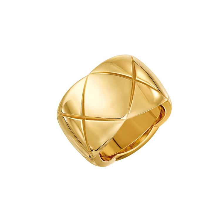 Large Chanel Coco Crush ring in yellow gold.