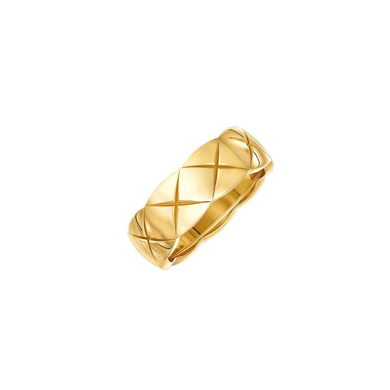 Small yellow gold Coco Crush ring from Chanel's new fine jewelry collection, available for a limited time only at Net-a-Porter.
