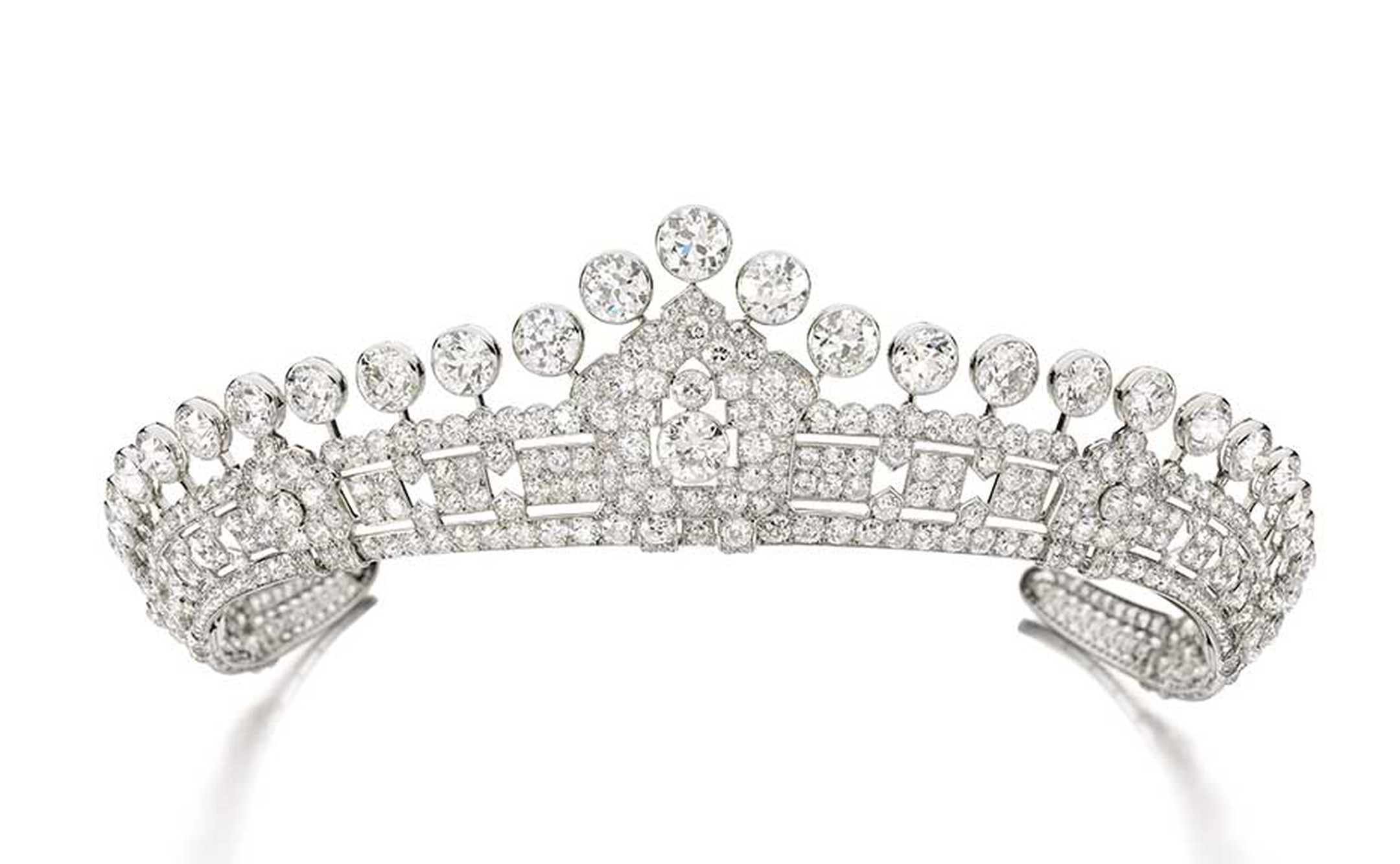 This Cartier tiara dating from the 1930s is one of three vintage tiaras from the estate of Mary, Duchess of Roxburghe, set to go under the hammer at next month's Magnificent Jewels and Noble Jewels Sale at Sotheby's Geneva (estimate: $306-505,000).