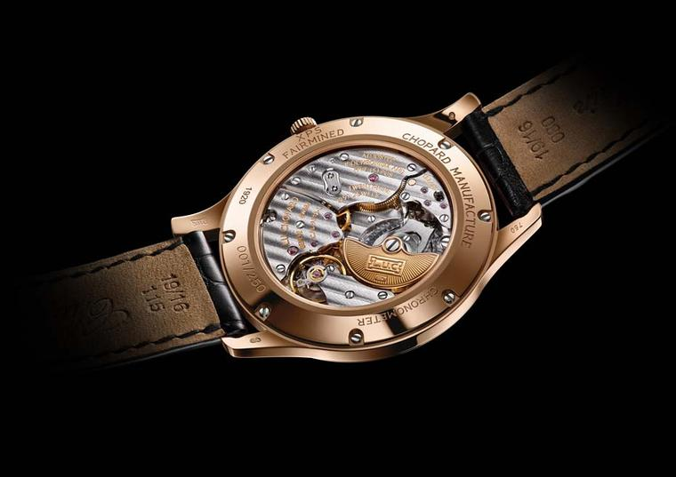 Chopard L.U.C XPS Fairmined watch is equipped with an in-house automatic movement visible through the exhibition caseback, which bears the Fairmined gold hallmark.