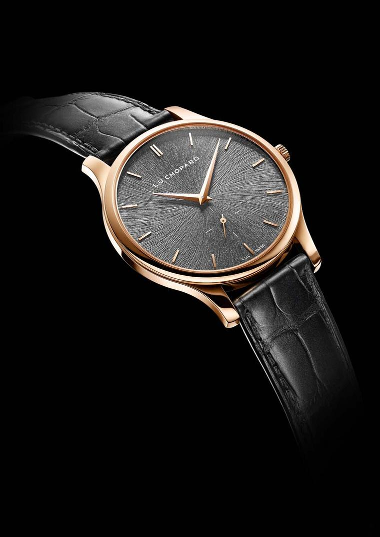 Chopard L.U.C XPS Fairmined gold watch for men is presented in a 39.50mm rose gold case with an elegant svelte profile of just 7.13mm, placing it in the ultra-thin category of dress watches.