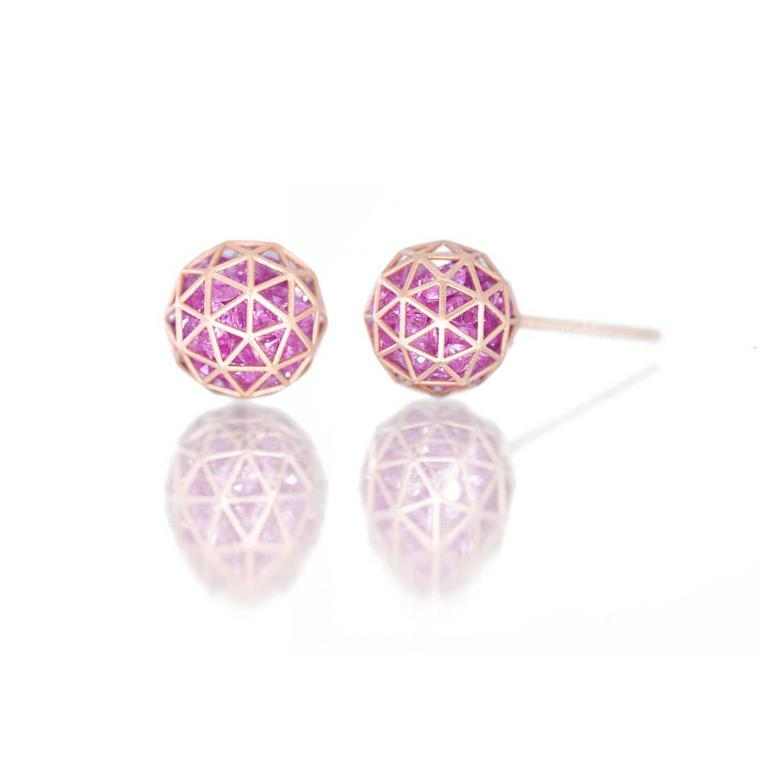 Beautiful Shaker stud earrings filled with loose pink sapphires by Roule & Co ($1,495), available from 1stdibs.
