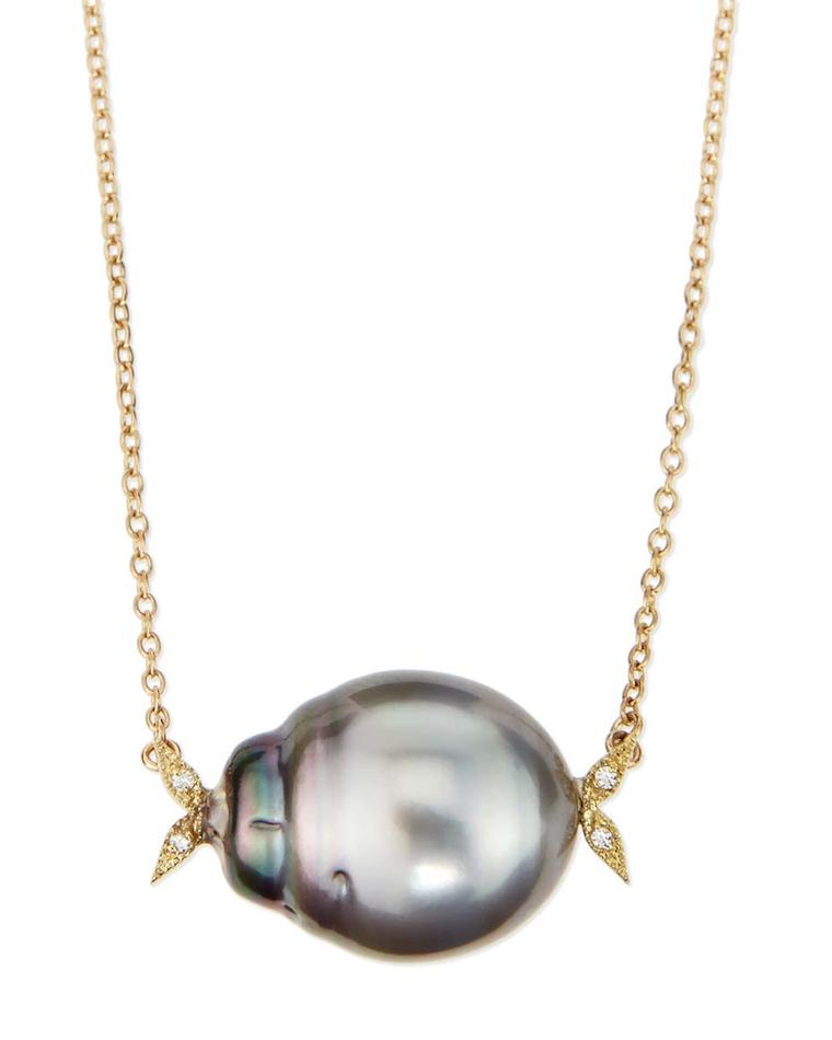 Mizuki pearl necklace in yellow gold, with a natural black Tahitian pearl and white diamond leaf detail ($1,830). Available from Bergdorf Goodman.