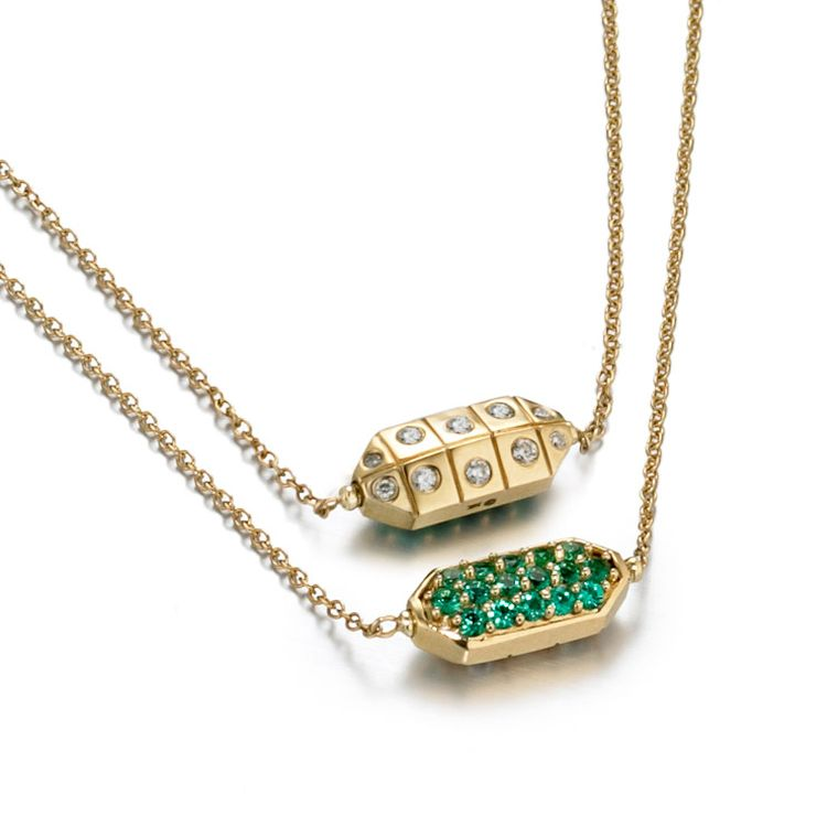Zaiken pendant necklace, created in collaboration with Gemfields. Set in yellow gold, it is set with green emeralds on one side and white diamonds on the reverse ($1,950). Available from Stone & Strand.