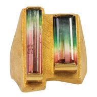 Bruno Guidi double step-cut watermelon tourmaline ring in brushed yellow gold. Available at 1sdibs.com.