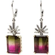 Coach House step-cut watermelon tourmaline earrings with diamond clusters in white and yellow gold. Bruno Guidi double step-cut watermelon tourmaline ring in brushed yellow gold. Available at 1sdibs.com.