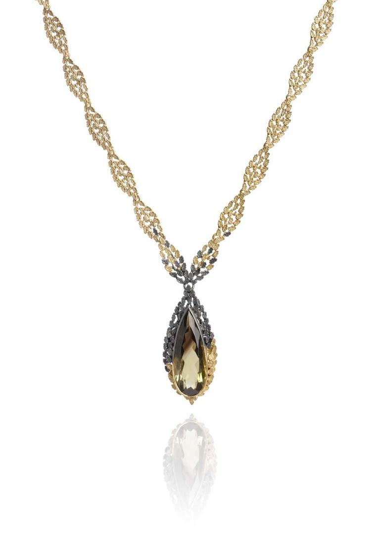 Beth Gilmour Dichroma bi-coloured quartz pendant in black rhodium and yellow gold.