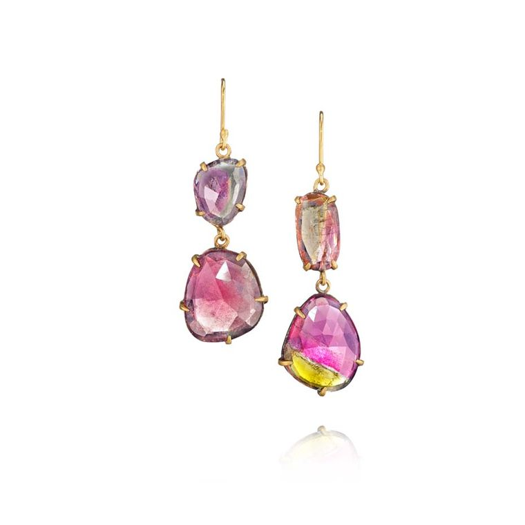 Margery Hirschey bi-colour tourmaline drop earrings in gold and silver.