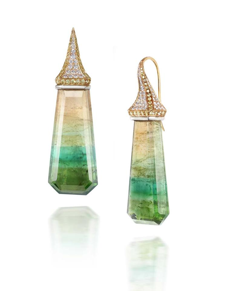 Rachael SARC one-of-a-kind, multi-colour tourmaline drops, suspended from yellow gold and platinum settings accented with pavé diamonds.