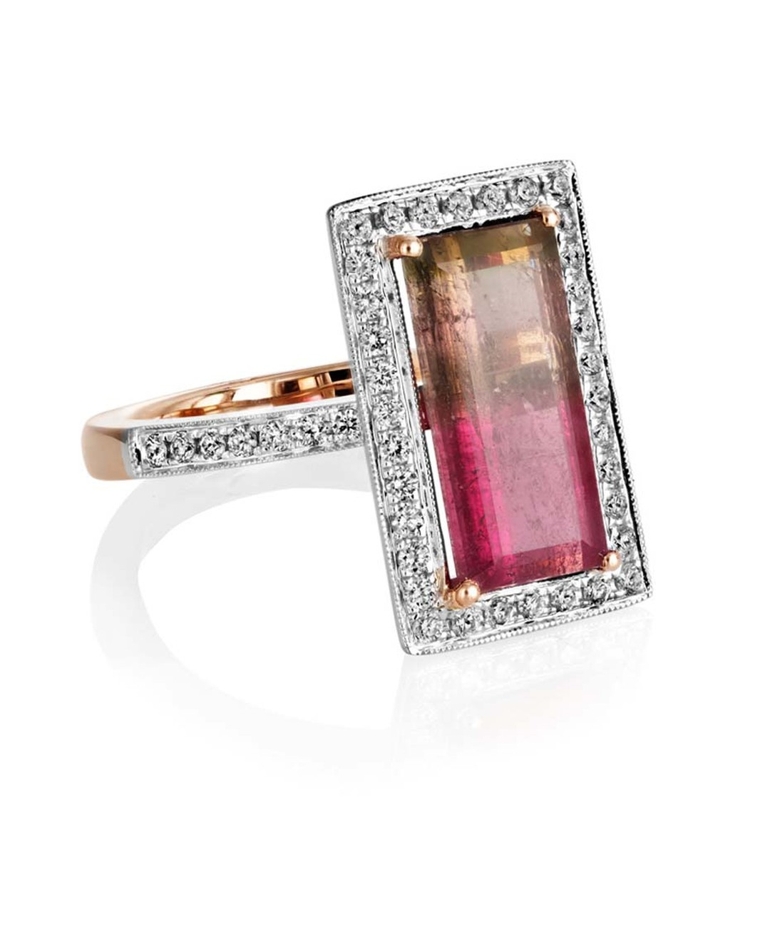 Sheldon Bloomfield ametrine and diamond ring in white and rose gold.