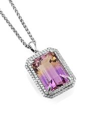 Sheldon Bloomfield ametrine and diamond pendant necklace in white gold.