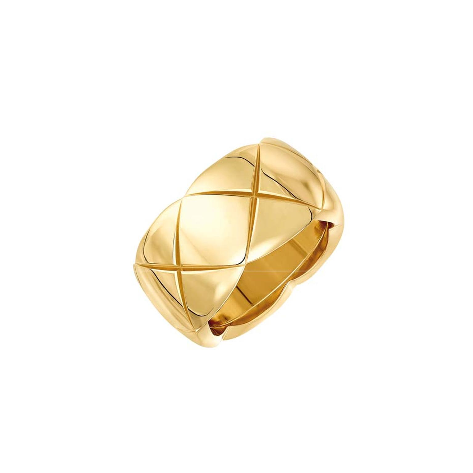 Small yellow gold Coco Crush ring from Chanel's new fine jewellery collection, available for a limited time only at Net-a-Porter.