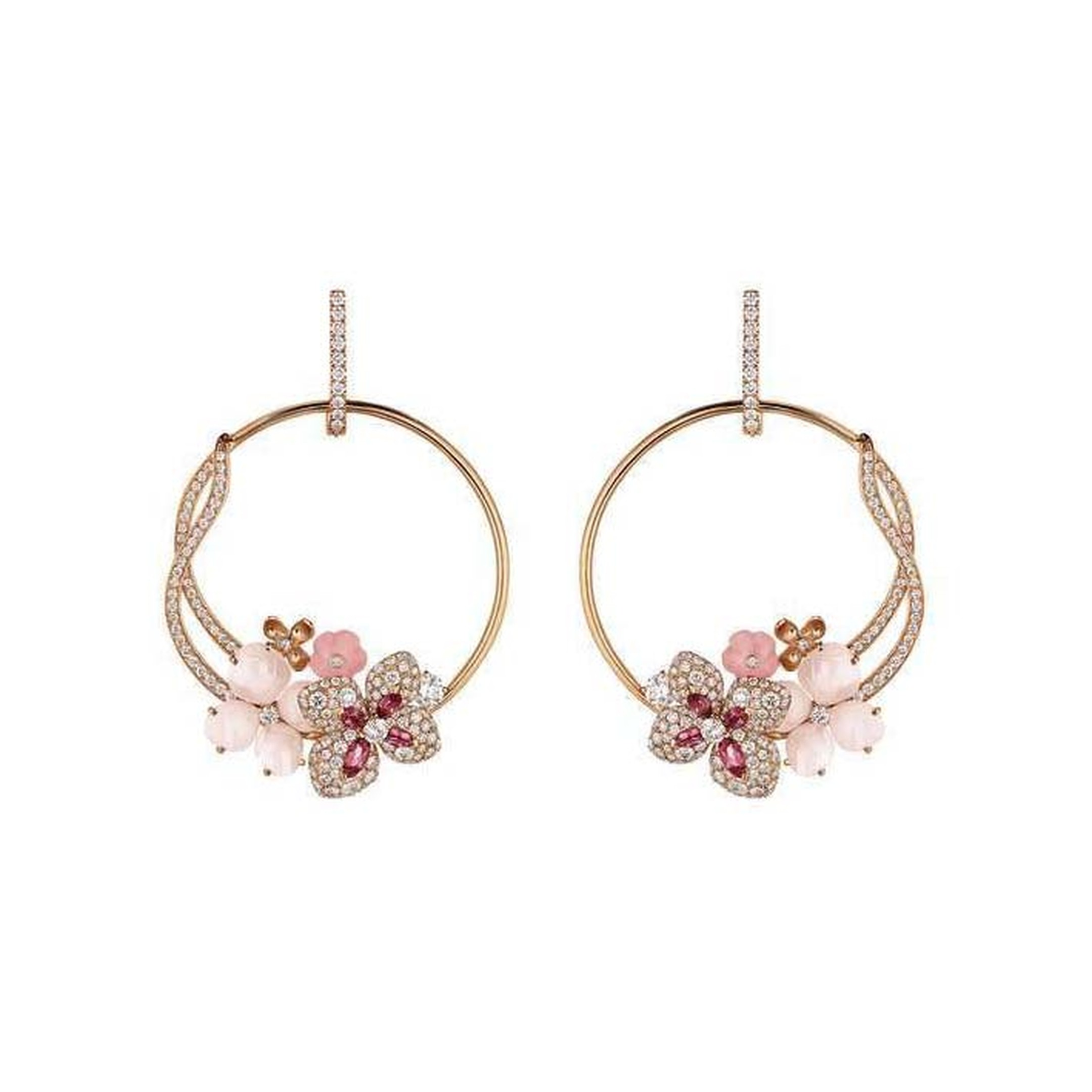 Chaumet Hortensia rose gold earrings set with angel-skin coral, pink opal, pink tourmalines and diamonds.
