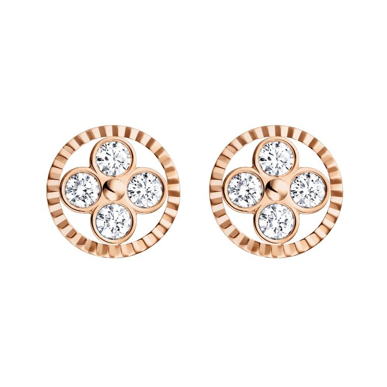 Louis Vuitton rose gold and diamond Sun earrings from the Monogram collection.