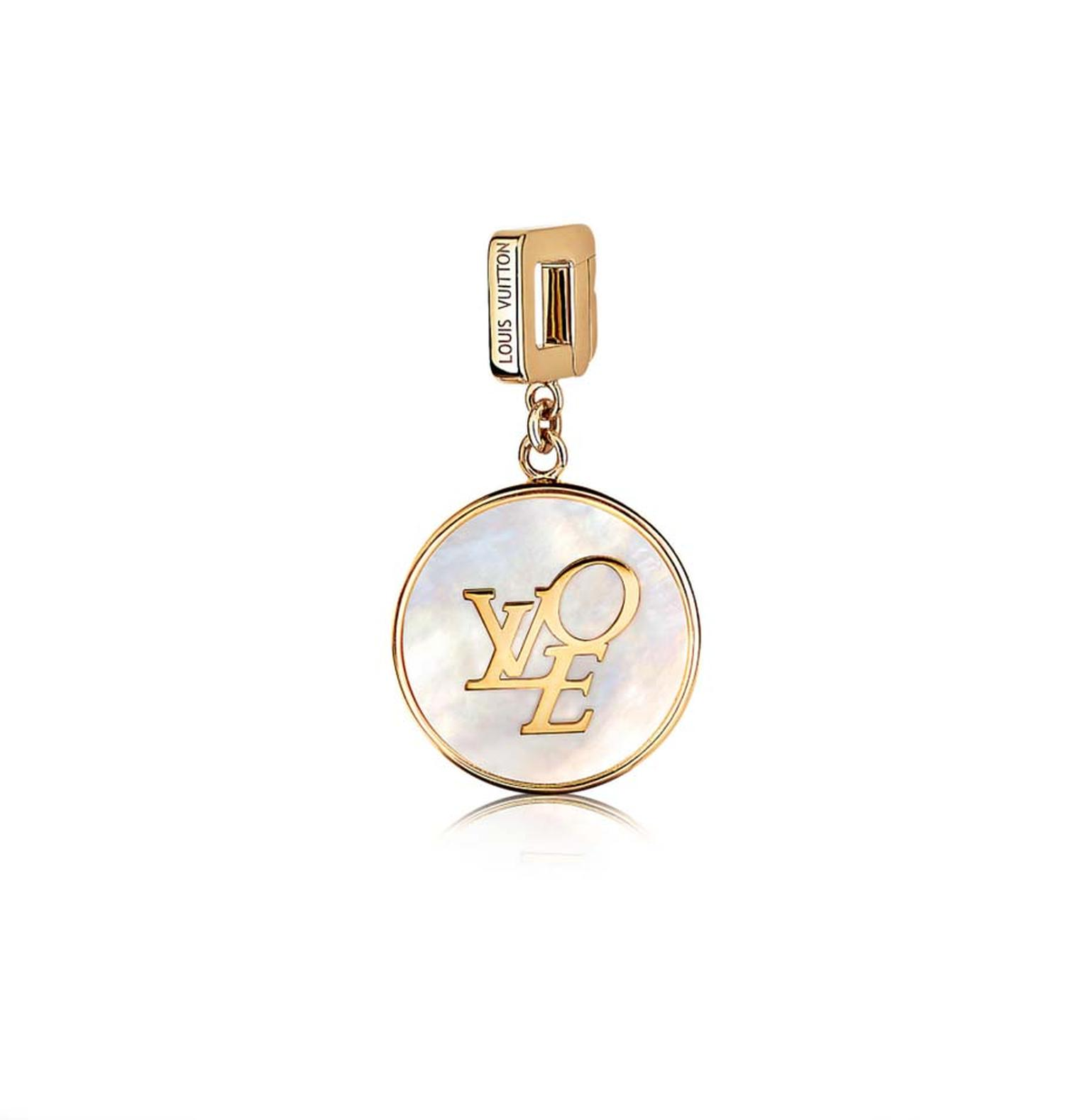 Louis Vuitton rose gold and mother-of-pearl Love pendant, which can be worn on a bracelet or as a pendant on a necklace (£2,200).