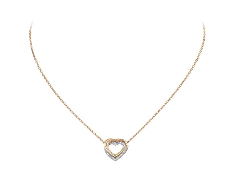 Cartier Trinity Heart pendant with three intertwined hearts in rose and yellow gold and diamond-set grey gold (£2,460).
