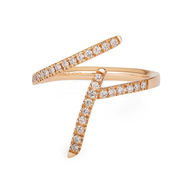 Sarah Ho Number 4 rose gold ring with diamonds from the new Numerati collection (from £1,600).
