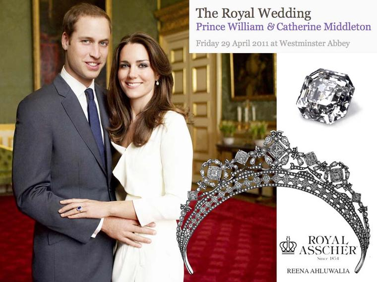 In 2011, Reena Ahluwalia designed a tiara for Kate Middleton set with Royal Asscher-cut diamonds as a tribute to the Royal Wedding.