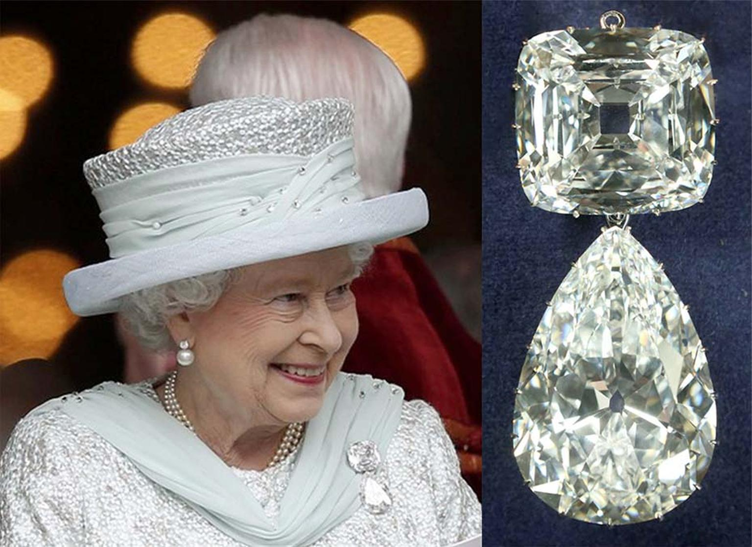 The third and fourth largest stones cut from the Cullinan diamond are known as Cullinan III and Cullinan IV and can be hooked together as a brooch. In 1953, The Queen inherited the brooch and wears it regularly.