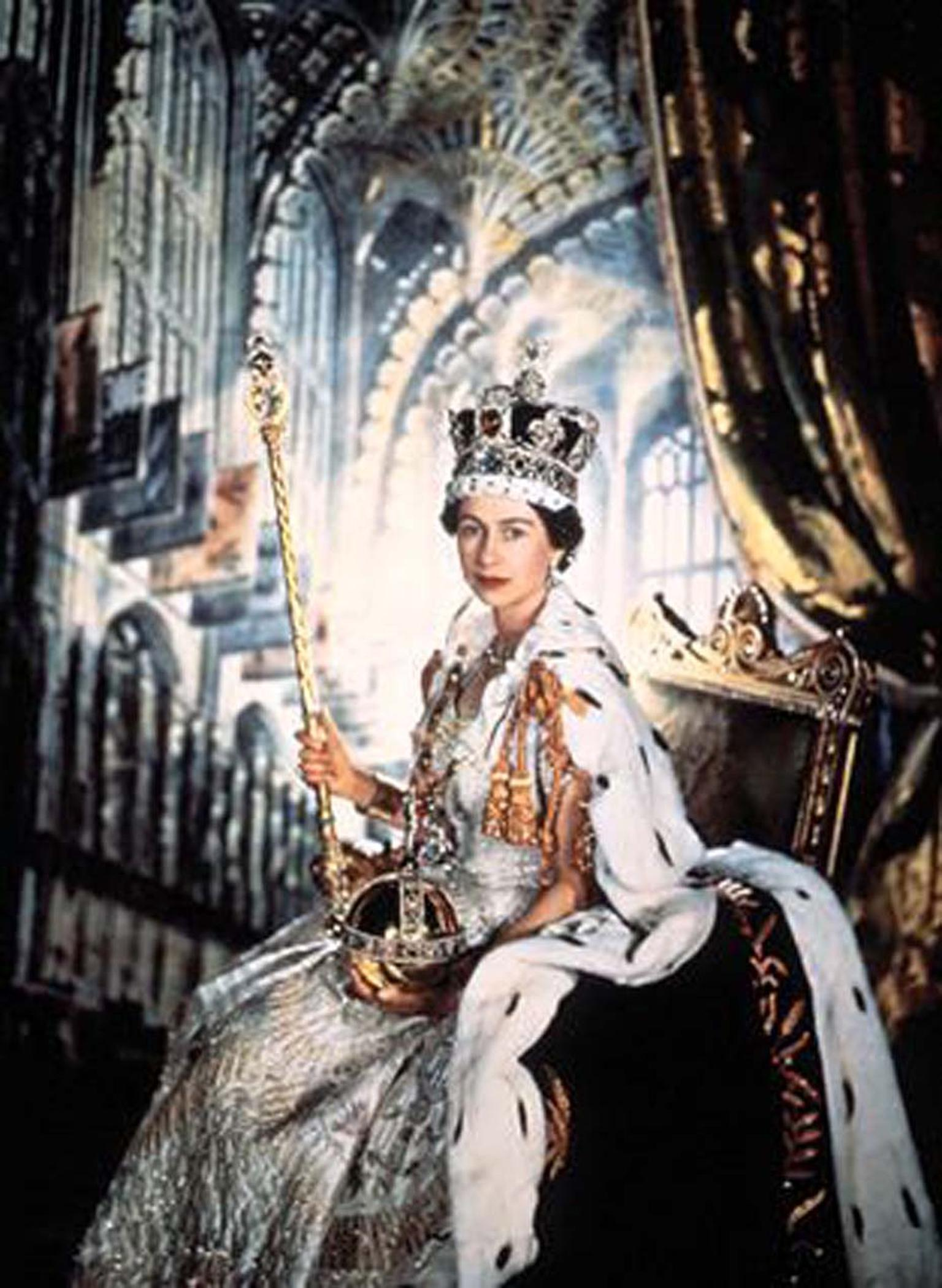 A portrait of Queen Elizabeth II at her Coronation wearing the Imperial State Crown and holding the Sceptre, both of which are set with diamonds cut from the famous Cullinan Diamond.