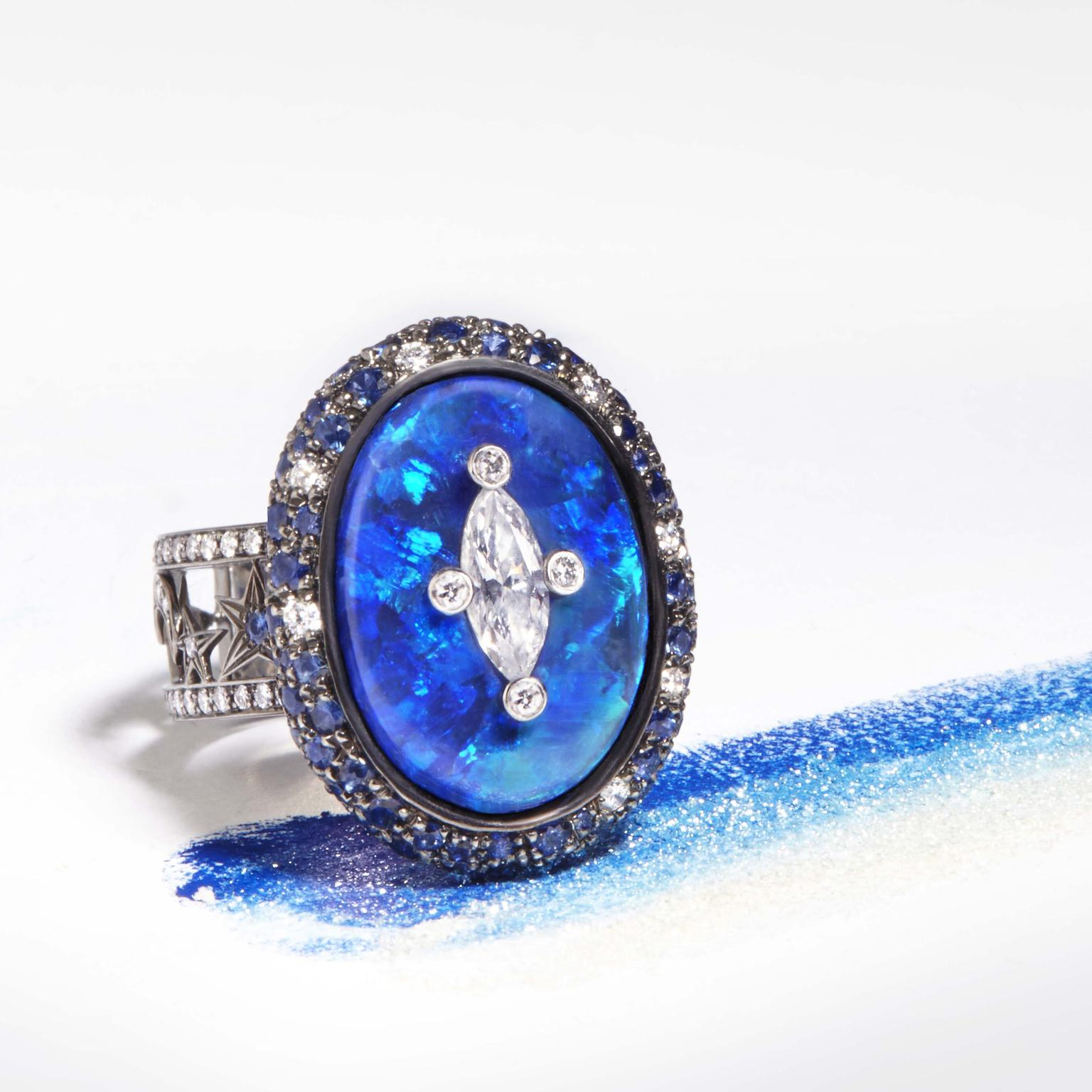 Katherine Jetter one-of-a-kind Astro opal ring with sapphires and diamonds.