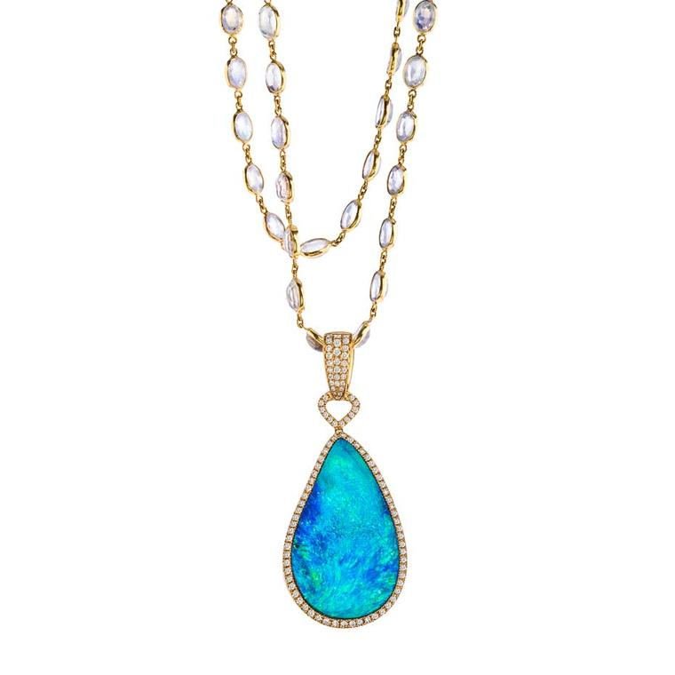 Katherine Jetter Azur opal pendant, set with a 40.10ct fancy Boulder opal in yellow gold with diamonds, suspended from a moonstone chain.