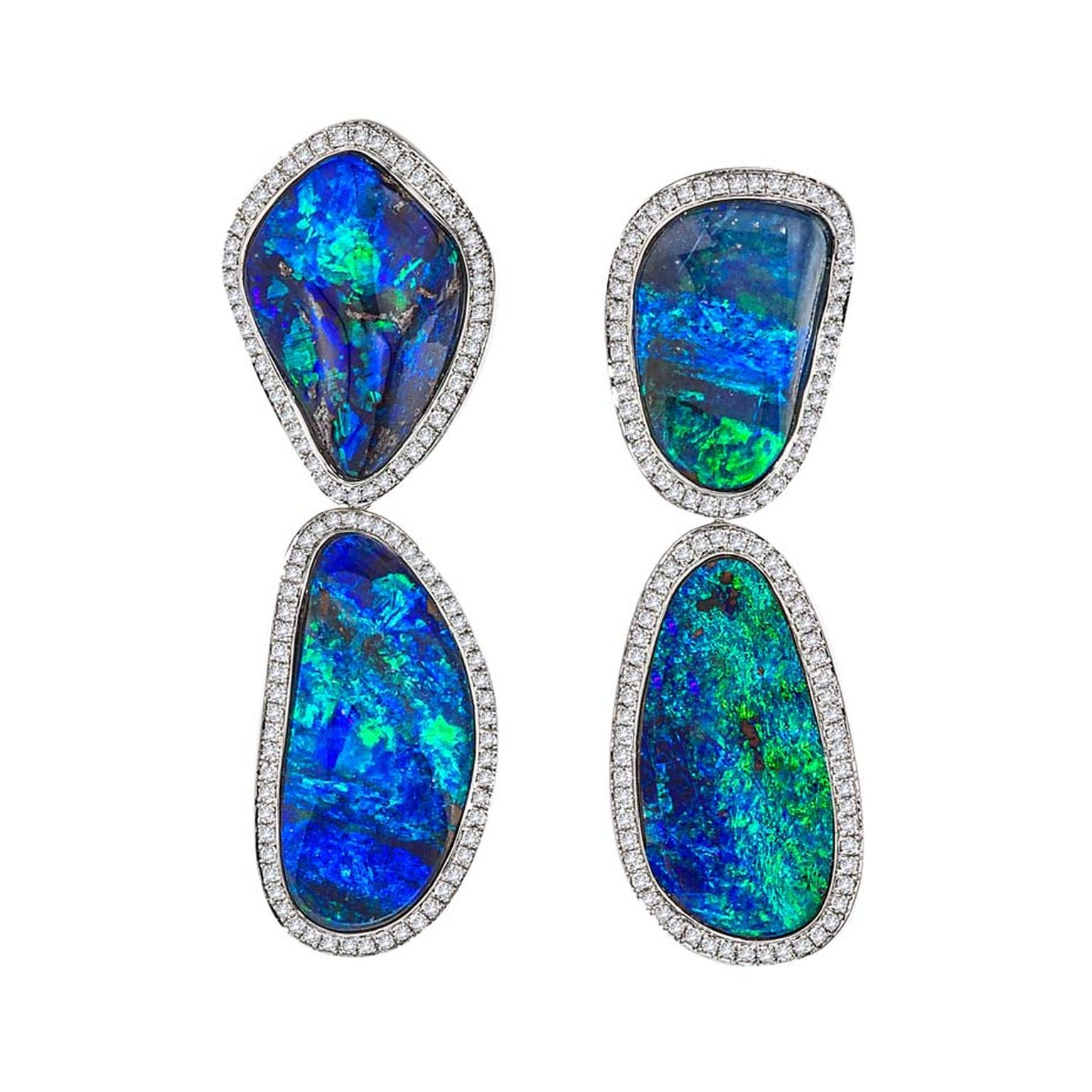 Katherine Jetter blue opal drop earrings with diamonds.