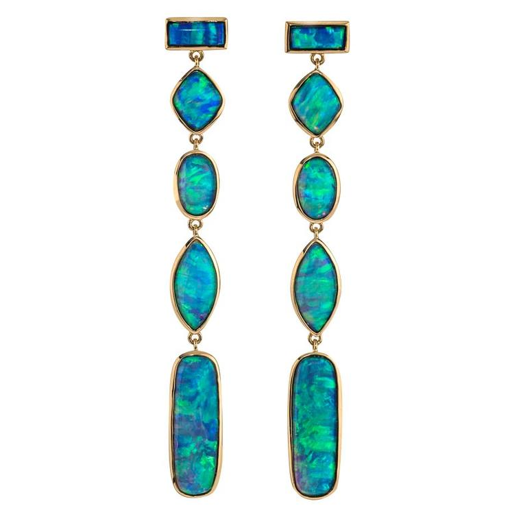 Katherine Jetter Australian opal earrings in yellow gold.