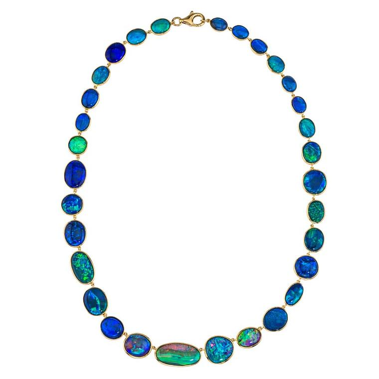 Katherine Jetter opal necklace, set with 59.58ct of mixed Australian opals in yellow gold.